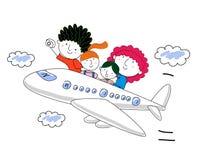 Illustrazione di una famiglia su un viaggio Immagine Stock Libera da Diritti