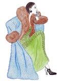 Illustrazione di una femmina in un cappotto elegante alla moda Fotografia Stock