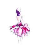 Illustrazione di una femmina in un vestito alla moda Immagini Stock