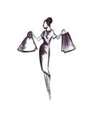 Illustrazione di una femmina in un vestito con le borse Fotografia Stock Libera da Diritti