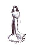 Illustrazione di una femmina in un vestito da palla lungo Fotografia Stock Libera da Diritti