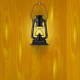 Illustrazione di una lampada su una parete di legno Fotografia Stock