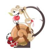 Illustrazione di una lumaca con il lavandino marrone su fondo bianco Immagini Stock Libere da Diritti