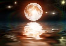 Illustrazione di una luna luminosa su acqua scura Fotografia Stock Libera da Diritti
