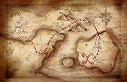 Illustrazione di una mappa del tesoro fotografia stock