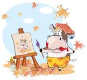 Illustrazione di una mucca sveglia Personaggio dei cartoni animati Fotografie Stock