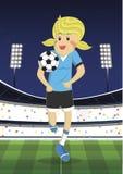 Illustrazione di una ragazza che gioca a calcio al campo Illustrazione Vettoriale