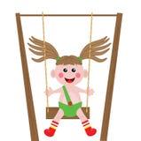 Illustrazione di una ragazza che gioca oscillazione Fotografia Stock Libera da Diritti