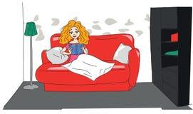Illustrazione di una ragazza che legge un libro Immagine Stock