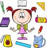 Illustrazione di una ragazza con i rifornimenti di scuola Fotografie Stock