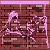 Illustrazione di una ragazza con una pantera Imitazione dei graffiti sulla parete Fotografia Stock