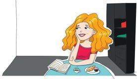 Illustrazione di una ragazza dai capelli lunghi che pensa e che sogna alla stanza Fotografia Stock Libera da Diritti