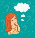 Illustrazione di una ragazza di pensiero sveglia Fotografia Stock