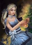 Illustrazione di una ragazza in un vestito che decora un albero di Natale illustrazione di stock