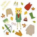 Illustrazione di una ragazza in vestiti di autunno royalty illustrazione gratis