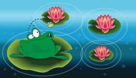 Illustrazione di una rana sopra l'acqua lilly Fotografie Stock Libere da Diritti