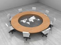 Illustrazione di una sala per conferenze con una tabella Immagini Stock