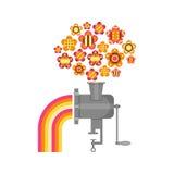 Illustrazione di una smerigliatrice con i fiori e l'arcobaleno Fotografie Stock