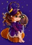 Illustrazione di una strega di Halloween con il suo gufo Immagine Stock Libera da Diritti