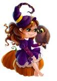 Illustrazione di una strega di Halloween con il suo gufo Immagini Stock Libere da Diritti