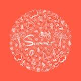 Illustrazione di una vacanza estiva nei colori luminosi Immagine Stock