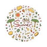 Illustrazione di una vacanza estiva nei colori luminosi Immagine Stock Libera da Diritti