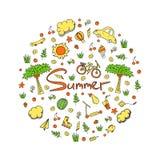 Illustrazione di una vacanza estiva nei colori luminosi Immagini Stock Libere da Diritti