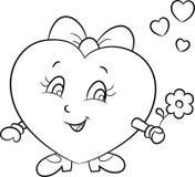 Illustrazione di uno sveglio poco ragazza-cuore, emoji di amore, in bianco e nero, per il libro da colorare dei bambini o la cart royalty illustrazione gratis