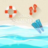 Illustrazione di vacanza della spiaggia di estate Immagini Stock Libere da Diritti
