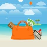 Illustrazione di vacanza della spiaggia di estate Immagini Stock