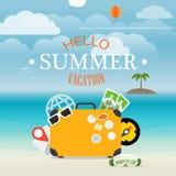 Illustrazione di vacanza della spiaggia di estate Fotografia Stock Libera da Diritti