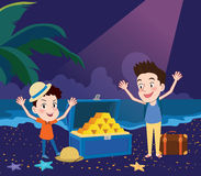 Illustrazione di vacanze estive, concetto emozionante di caccia del tesoro di progettazione piana Immagine Stock