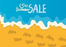Illustrazione di vacanze estive, spiaggia piana di progettazione e concetto di vendita di estate Immagini Stock Libere da Diritti