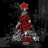 Illustrazione di vacanze invernali di vettore Albero della siluetta di Natale con l'iscrizione di saluto Fotografie Stock