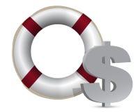 Illustrazione di valuta del dollaro della salvavita di SOS Fotografie Stock Libere da Diritti