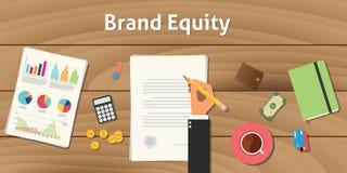 Illustrazione di valutazione di valore di brand equity con il lavoro dell'uomo d'affari della mano sul grafico e sul grafico del  Immagini Stock Libere da Diritti