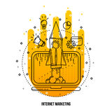 Illustrazione di vendita di Internet Fondo piano del profilo di vettore Immagini Stock
