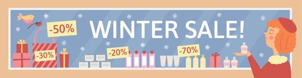 Illustrazione di vendita di inverno con la vetrina del cosmetico Fotografia Stock