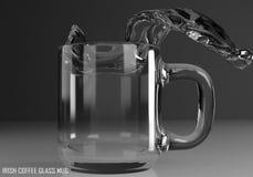 Illustrazione di vetro della tazza 3D dell'irish coffee Fotografie Stock Libere da Diritti