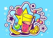illustrazione di vetro di succo con i frutti su backgr blu Immagine Stock Libera da Diritti