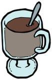 Illustrazione di vetro di vettore del cucchiaio e della tazza di caffè illustrazione di stock