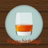 Illustrazione di vetro di whiskey su fondo di legno con testo Fotografia Stock