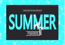 Illustrazione di vettore di acqua blu brillante Paradiso di estate Prendami alla spiaggia L'illustrazione può essere usata per we Immagini Stock