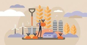 Illustrazione di vettore di agricoltura Mini concetto delle persone con i raccolti del raccolto royalty illustrazione gratis
