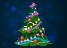 Illustrazione di vettore Albero di Natale su una priorità bassa blu Fotografie Stock Libere da Diritti