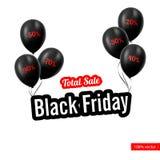 Illustrazione di vettore Annerisca venerdì Palloni neri Fotografia Stock Libera da Diritti