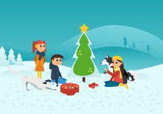 Illustrazione di vettore: Bambini con i cani che decorano l'albero di Chrismas nel paesaggio di Snowy fotografia stock