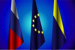 Illustrazione di vettore Bandiere della Russia, UE, Ucraina, l'accordo di pace Fotografie Stock
