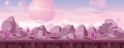 Illustrazione di vettore di bello paesaggio straniero nei colori rosa con i cristalli e le montagne L'altra fantasia del pianeta royalty illustrazione gratis