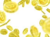 Illustrazione di vettore di Bitcoin delle monete dorate realistiche del fondo un 3d del modello Fotografia Stock Libera da Diritti